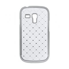 Puzdro tvrdé Samsung i8190 Galaxy S3 mini biela s kamienkami